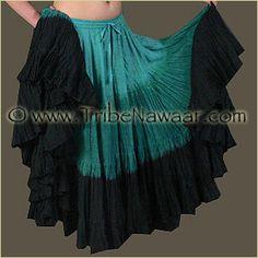 Tribe Nawaar Hand Dyed 25 Yard Skirt - Teal And Black