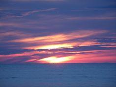 A magical sunset  on the beach  with cloudy ☁ sky  ☺