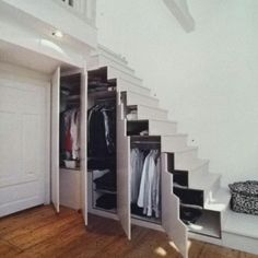 Stair storage-my husband has done similar projects :)