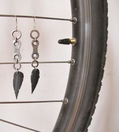 Bicycle Chain Link Feather Earrings - Recycled Jewelry - chain - handmade - bike - recycled. $20.00, via Etsy.