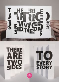 """Stampa su carta Interessante l'uso della prospettiva per raccontare """"due storie"""", il foglio aperto non racconta nessuna storia mentre se visto dalla giusta prospettiva ne racconta ben due."""