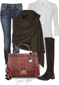 """Dressy Casual"" by orysa on Polyvore - I just ordered a brown shawl like this one. I can SO MAKE THIS OUTFIT from my closet!! ;-)"