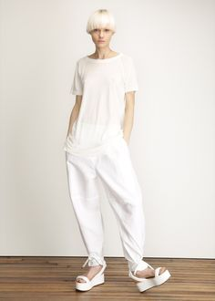 MM6 Maison Martin Margiela Pull On Oversized Pant (White) - instagram.com/id_entry