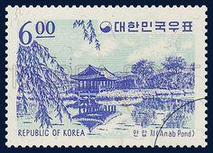 SCENIC POSTAGE STAMPS, Anapji, architecture, Dark blue, Purple, 1964 05 25, 관광우표, 1964년05월25일, 409, 안압지, postage 우표