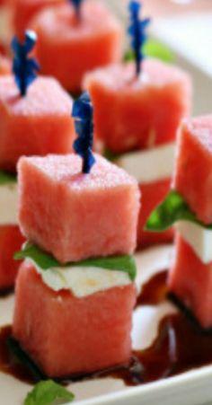 Appetizer - watermelon, mozzarella, basil, and balsamic