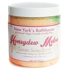 New York's Bathhouse shea butter soap whipped to perfection with organic cane sugar, lots of glitter and & vitamin E. The smell of yummy honeydew melon and watermelon to help exfoliate your skin in th