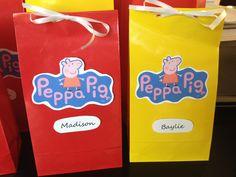 Homemade Peppa Pig favor bags