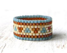 Colorful beaded ring Seed bead ring Beaded by HappyBeadwork