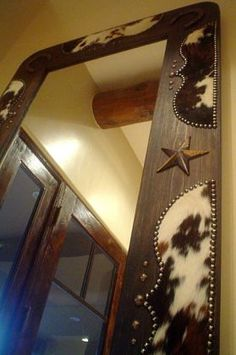Cowhide and horseshoe rustic, western style full length, wood mirror frame from Signature Cowboy. Western Furniture, Rustic Furniture, Cowhide Furniture, Cabin Furniture, Furniture Nyc, Furniture Outlet, Cheap Furniture, Western Style, Rustic Style