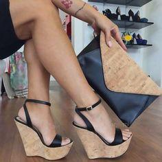 Bohemia Women Sandal Platform Wedges High Heel Black/Brown Open Toe Wedge Shoe