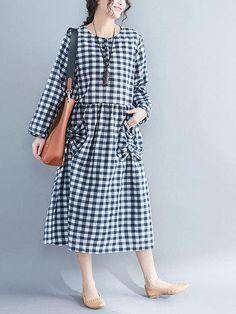 495e5bfc6290 #fashion #trends #styles #AdoreWe #PopJulia - #PopJulia Plus Size Long  Sleeve Shift Crew Neck Casual Printed Linen Dress - AdoreWe.com