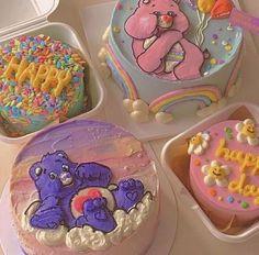 Pretty Birthday Cakes, Pretty Cakes, Beautiful Cakes, Amazing Cakes, Cake Birthday, Care Bear Cakes, Simple Cake Designs, Korean Cake, Pastel Cakes