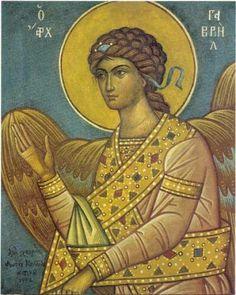 Ο Αρχάγγελος Γαβριήλ,1952.Κερόνεφτο, 53 x 43 εκ. Συλλογή Κωνσταντινίδη
