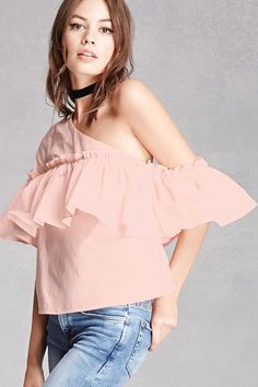 A woven top featuring a one-shoulder design, a ruffled flounce layer, and short sleeves. This is an independent brand and not a Forever 21 branded item.