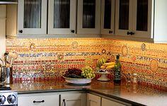 7 Fabulous Tricks Can Change Your Life: Beadboard Backsplash Diy wavy subway tile backsplash.Farmhouse Backsplash Behind Stove subway tile backsplash herringbone. Kitchen Mosaic, Colorful Backsplash, Mosaic Tiles, Mosaic Tile Backsplash, Kitchen Decor, Mosaic Backsplash Kitchen, Gorgeous Kitchens, Mosaic, Trending Decor