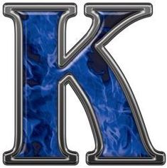 Reflective Letter K with Inferno Blue Flames