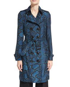 BURBERRY The Sandringham - Python-Print Silk Trenchcoat, Mineral Blue. #burberry #cloth #