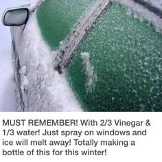 Melting off ice with Vinegar and water spray for the winter.