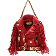 Moschino Rucksack (6.385 BRL) ❤ liked on Polyvore featuring bags, backpacks, red, moschino bags, red backpack, moschino, fringe backpack and fringe bag