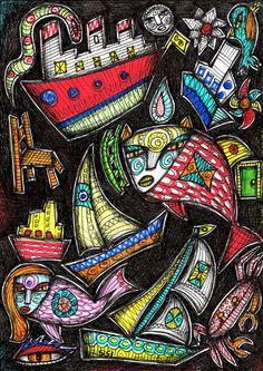 Boating, outsider folk art by Julia Sisi