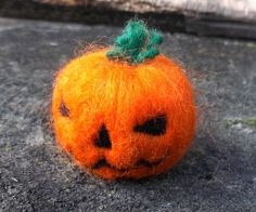 Mini Needle Felted Jack-o'Lantern Pumpkin by MischiefsManifold on Etsy
