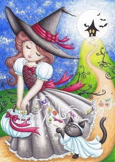Trick-Or-Treat ~ Halloween ~ Witch ~ Black Cat ~ Hiroko Reaney, artist