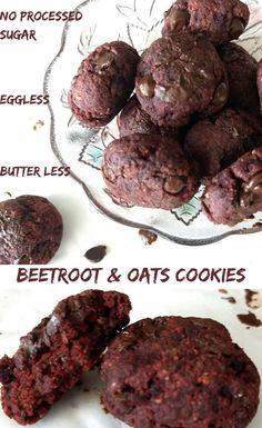 Eggless ButterlessNo Processed Sugar this BeetRoot Oats Cookies are a healthy munching snack or a dessert made with Oats Jaggery BeetRoot Cocoa powder Chocolate chips etc. Oat Cookies, Lactation Cookies, Healthy Cookies, Beet Cookies Recipe, Lactation Recipes, Easy No Bake Desserts, Healthy Desserts, Healthy Cake, Healthy Baking