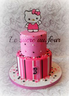 Children's Cakes - *  Hello kitty cake. the cake topper was cut by hand.