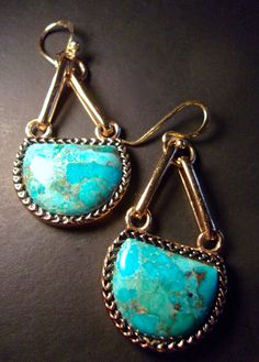 Turquoise Bronze & Sterling BARSE Earrings by RenaissanceFair