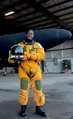 Lt. Col. Merryl Tengesdal stands in front of a U-2 Feb. 9, 2015, at Beale Air Force Base, Calif. Tengesdal is the only black female U-2 pilot in history.  - #Female #Pilots #U2
