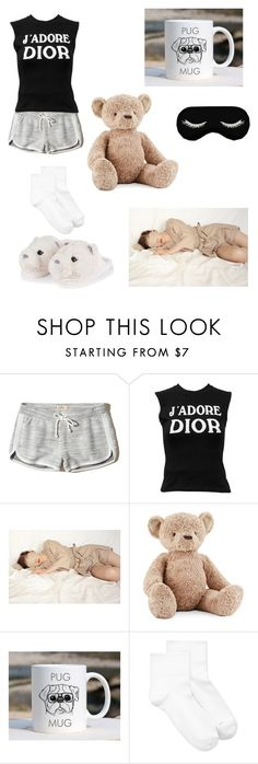 """""""pajams"""" by star-kwt ❤ liked on Polyvore featuring interior, interiors, interior design, home, home decor, interior decorating, Hollister Co., Christian Dior, Jellycat and Hue"""