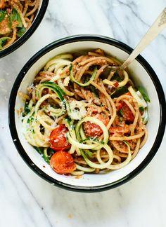 Double Tomato Pesto Spaghetti with Zucchini Noodles
