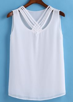 Shop Criss Cross Chiffon Tank Top at ROMWE, discover more fashion styles online. Plus Sise, Top P, Criss Cross, Chiffon, Glamour, Tank Tops, Shirts, Outfits, Shopping