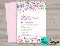 Confetti Baby Shower Invitations, Printable Baby Shower Invitations, Confetti Baby Sprinkle Invitations