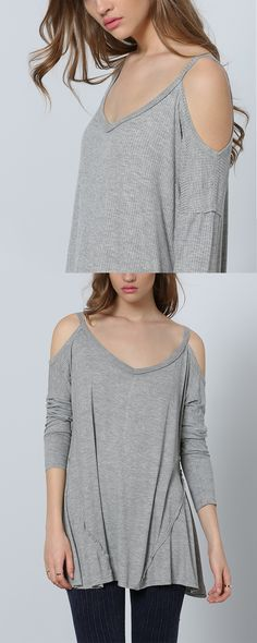 Really recommend top! Grey Long Sleeve Off The Shoulder Sweater. Must have for spring or summer. Generous!