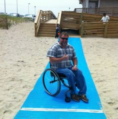 AccessRec Beach Access Mats: Resources: Products Directory: National Center on Accessibility: Indiana University Bloomington Adaptive Sports, Adaptive Equipment, Tumblr Ocean, Videos Tumblr, Indiana University, Outdoor Recreation, Beach Photos, Beach Mat, Outdoor Blanket