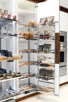 Pantry system with internal LED lighting #clever #kitchen #storage
