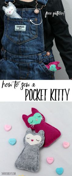 Free Cat Sewing Pattern Felt Pocket Kitty is part of Hand Sewing crafts - Free cat sewing pattern to make a sweet little felt kitty that fits in your child's pocket Easily sewn by hand, this is an adorable kitty softie! Love Sewing, Sewing For Kids, Hand Sewing, Sewing Toys, Sewing Clothes, Sewing Crafts, Dress Sewing, Softies, Sewing Hacks