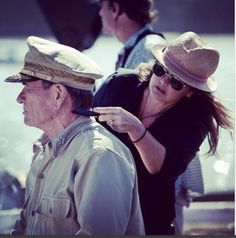 BTS Tommy Lee Jones getting touched up on the set by Gabrielle P Jones. Photo by The Makeup School NZ Matthew Fox, Tommy Lee Jones, School Makeup, New Movies, Emperor, Bts, Makeup For School