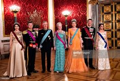 (L-R) Crown Princess Mary, Crown Prince Frederik, King Philippe, Queen Margrethe, Queen Mathilde, Prince Joachim and Princess Marie pose for a photo at the state banquet on March 28, 2017 at Christiansborg Castle in Copenhagen.The Belgian Royal Couple is on a two-day state visit to Denmark. / AFP PHOTO / Scanpix Denmark / Keld Navntoft / Denmark OUT        (Photo credit should read KELD NAVNTOFT/AFP/Getty Images)