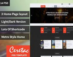 CERETAC Flat Metro Style Portfolio Blog PSD Theme