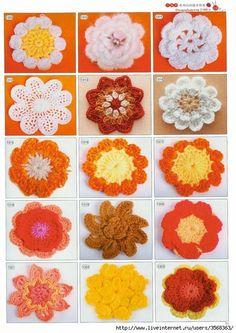Crocheted flowers ~~ pattern galore