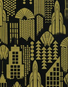 Art Deco City Nightlife Black and Gold Metallic Fabric 1 yard via Etsy