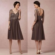 Wholesale Mother of the Bride Dress - Buy Vintage Lace Short Mother of the Groom Dresses with Half Sleeves Bridal Chiffon Coffee Knee Length A-line Zipper Wedding Guests' Dress, $121.86 | DHgate.com