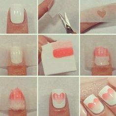 Heart ombre nails nails heart nail art instagram nail designs ombre instagram pictures valentines day nails valentines day…