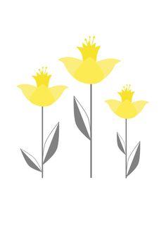 Botanical Illustration - Simple Yellow and Grey Daffodil Art Print -