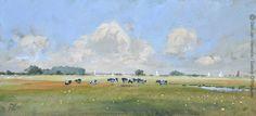 Sneekweek expositie in Galerie Offingawier - Landscape near Offingawier acrylic on board 23x50cm --sold-- ©Gert-Jan Veenstra www.galerie-offingawier.nl