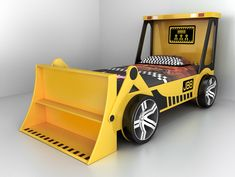 Get a JBB kid's yellow tractor bed! Tractor bed feature packed with wheels and a digger. Dimensions: (L) (W) (H) With a vibrant yellow glo finish. Make bedtime exciting! Tractor Bed, Kids Car Bed, Kids Bed Design, Construction Bedroom, Bed Company, Yellow Bedding, Bed Mattress, Baby Room Decor, Kid Beds