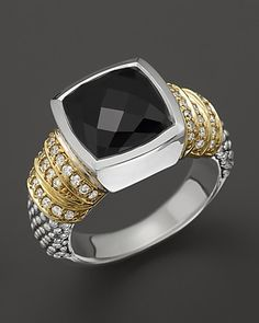 Lagos Embrace Noir Sterling Silver Black Spinel Ring with 18K Gold and Diamonds | Bloomingdale's