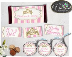 Royal Baby shower girl CANDY BAR wrappers and labels little princess printable in royal pink theme, digital files, instant download - rp002 #babyshowergames #babyshower